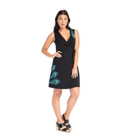 Synergy Peacock Applique Classic Wrap Dress