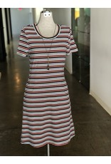 Neesha Striped Rib Knit Tee Dress