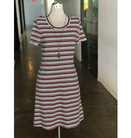 Neesha Striped Rib Knit Tee Dress