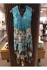 Relish Crinkle & Pleated Vneck Dress