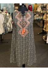 Relish Geo Print Dress w Embroidery