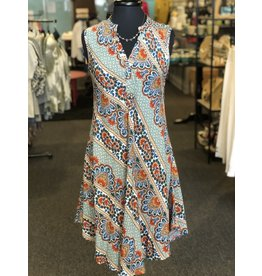 Relish Paisley Print Henley Dress