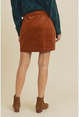 Relish Button Corduroy Skirt w Belt
