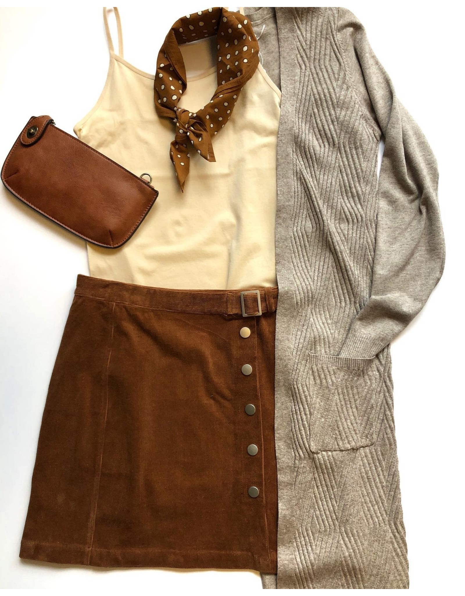 Relish Button Corduroy Skirt w Belt