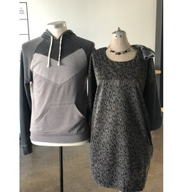 Relish Leopard Solid Pocket Sweater Dress