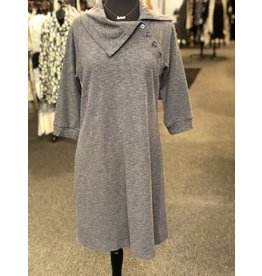 Neesha Split Cowl Button Dress