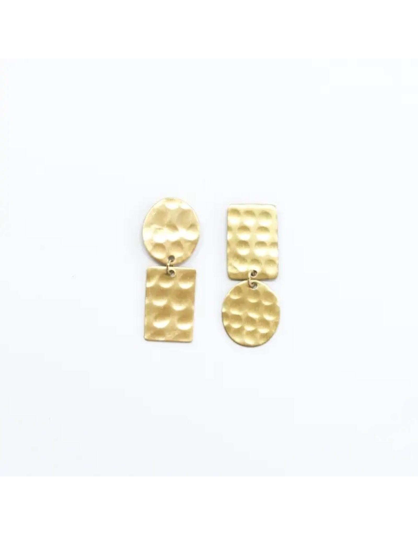 Rover & Kin Hammered Flipped Shapes Earrings