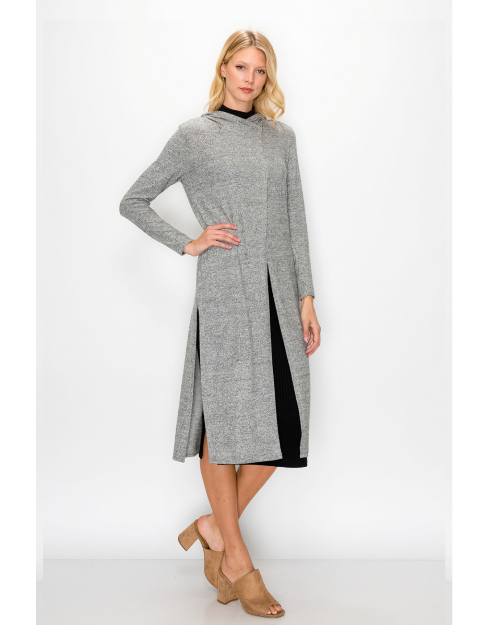 Coin1804 Cozy Knit Side Slit Hoodie Wrap Duster