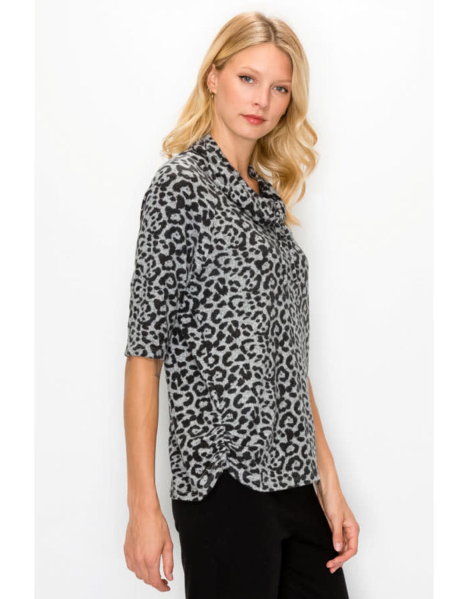 Coin1804 Leopard Print Cozy Knit Cowl Neck Drawstring