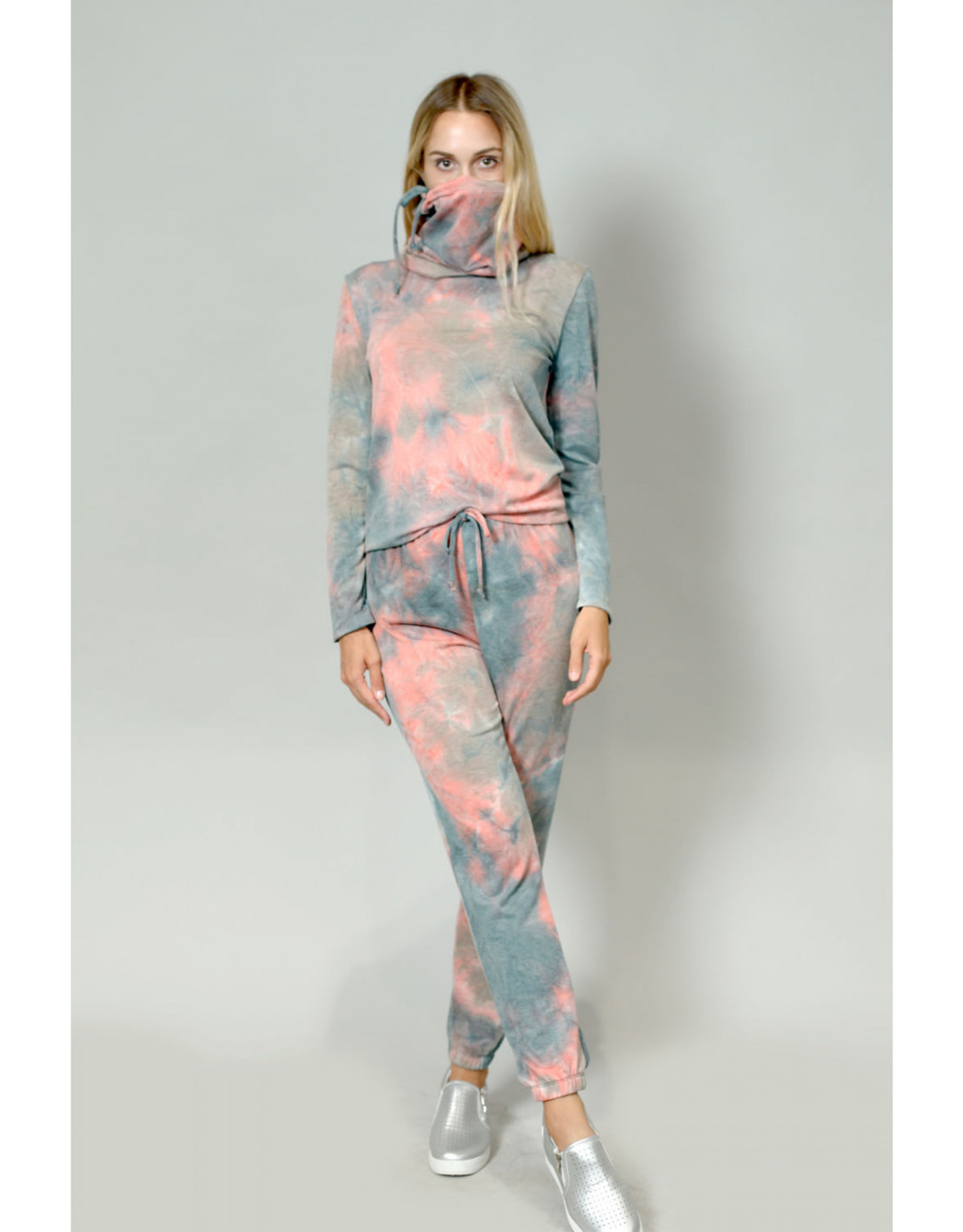 Coin1804 Multi Function Funnel Neck Built In Gaiter Tie Dye French Terry