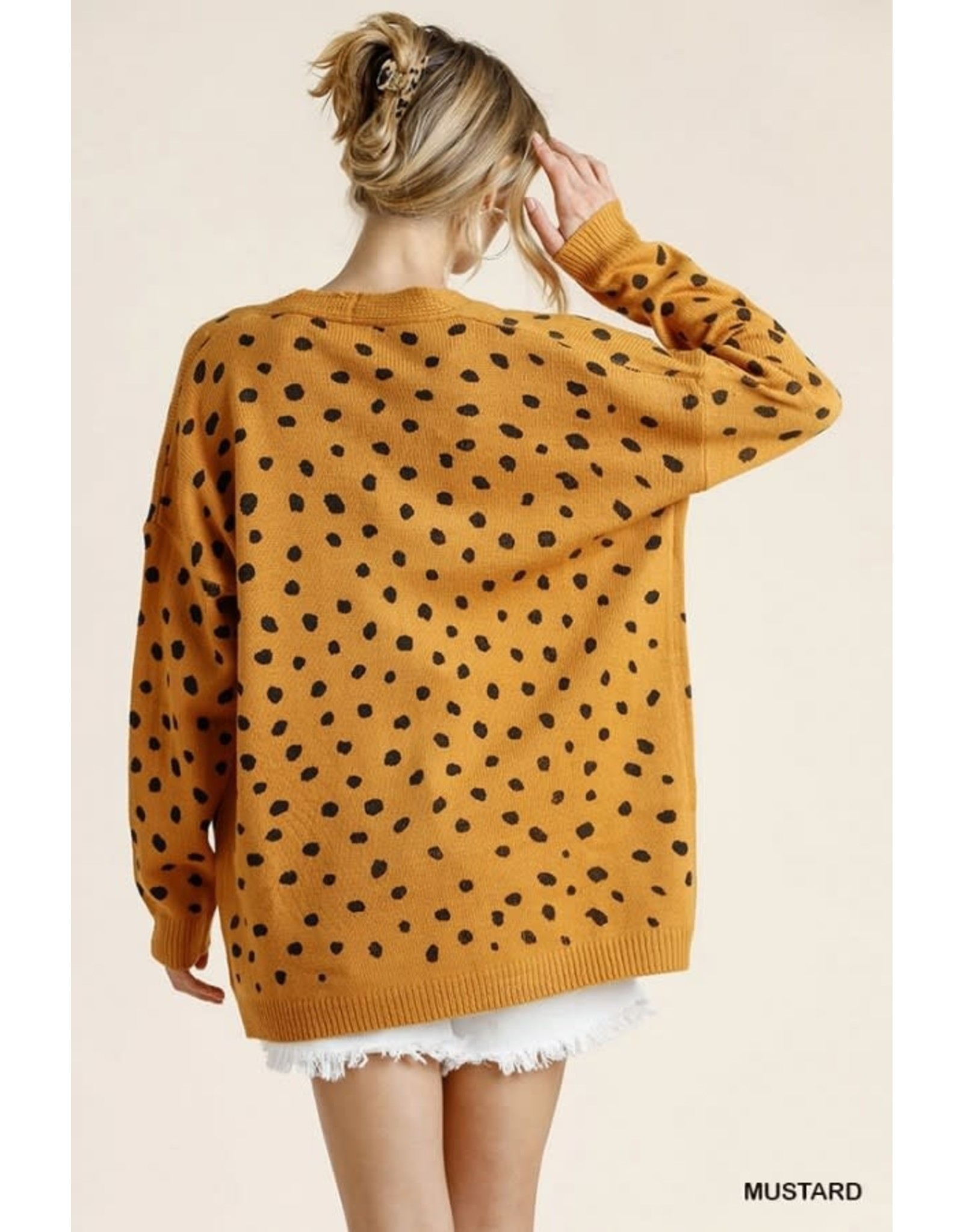 Umgee Dalmatian Hand Stamped Open Front Cardi