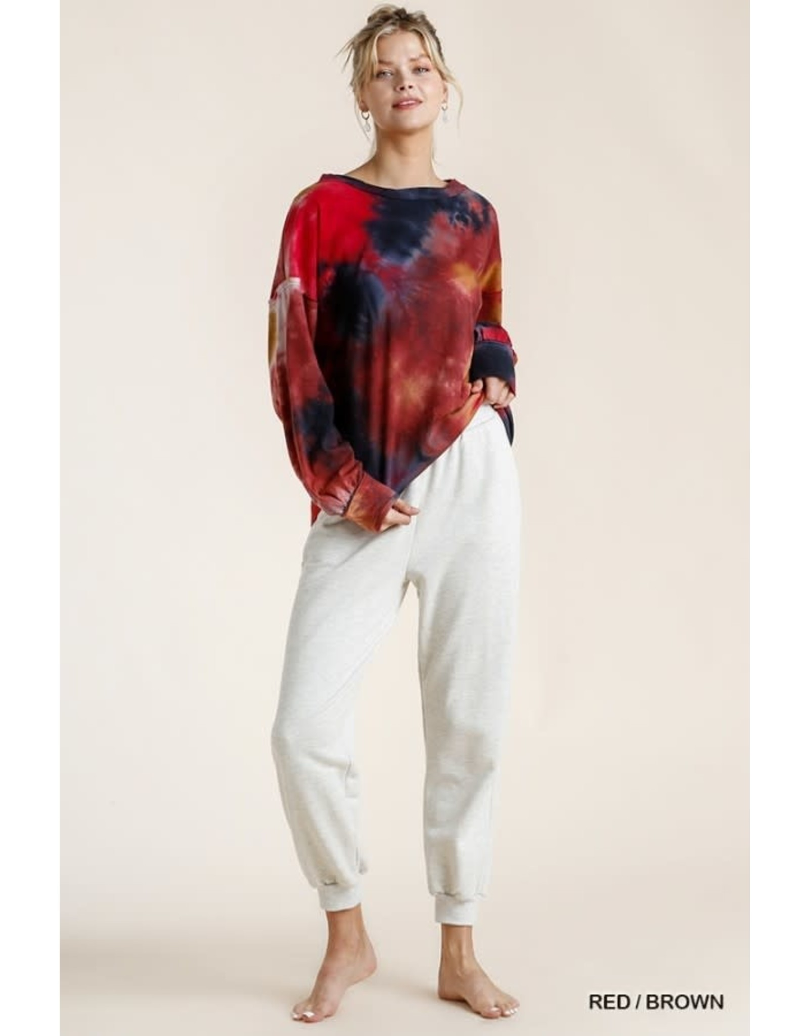 Umgee Tie Dye Twisted Round Neck Long Sleeve Top with Raw Edged Detail