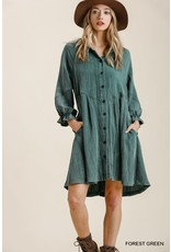Umgee Ruffle Cuff L/S Dress