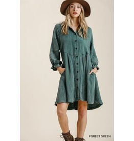 Umgee Ruffle Cuff L/S Dress