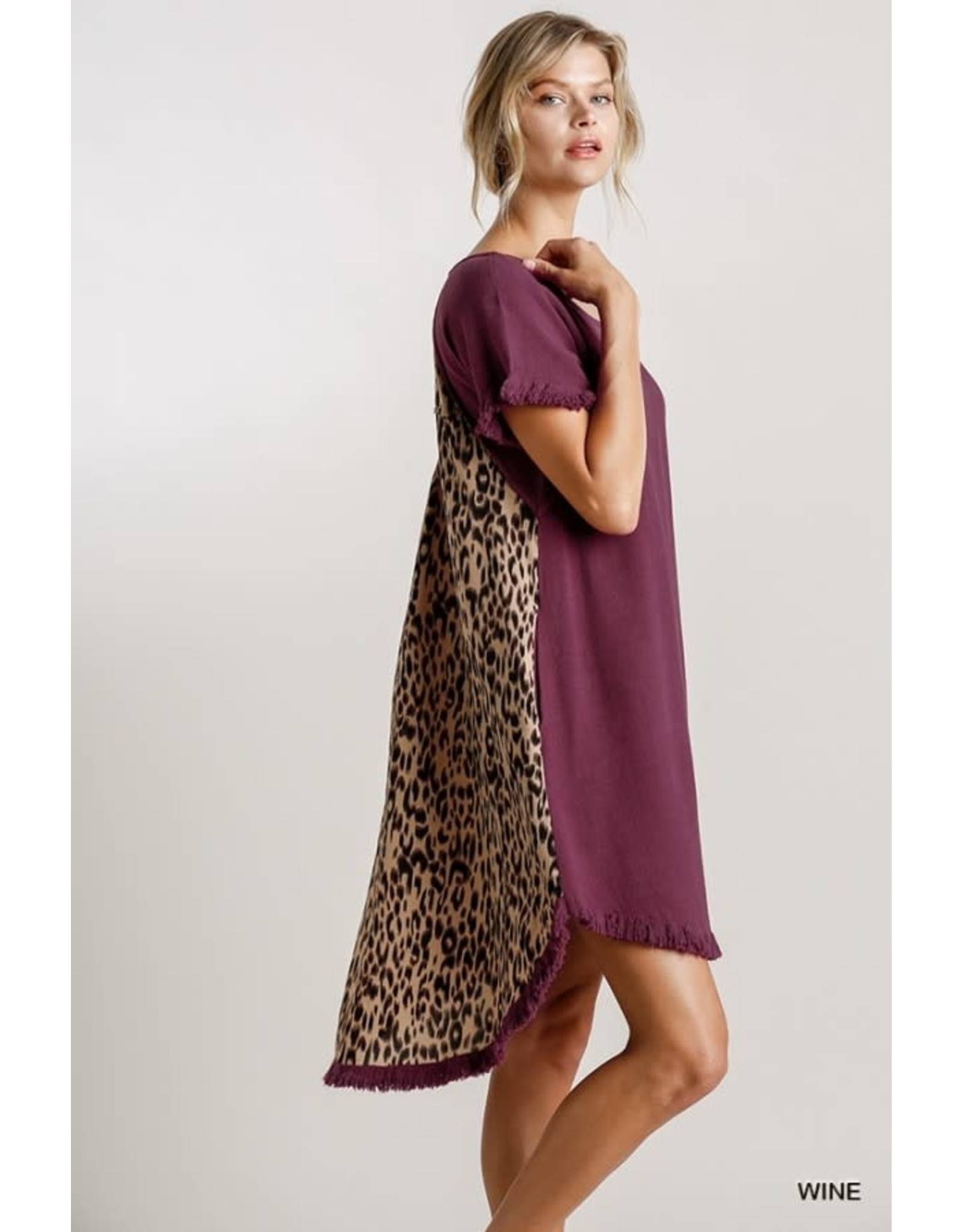 Umgee Fishtail Scoop Animal Print Dress