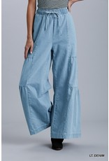 Umgee High Rise Wide Leg Drawstring Jeans