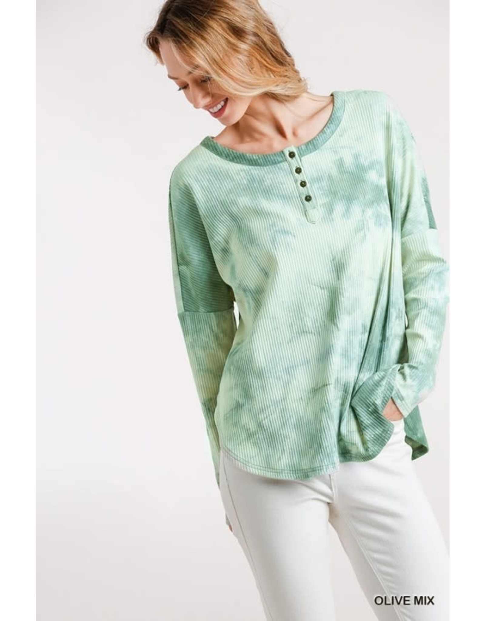 Umgee Tie Dye Ribbed Button Front Top