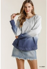 Umgee French Terry Dip Dye Top