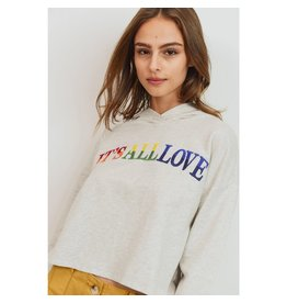 Paper Crane It's All Love - Long Sleeve Cropped Hoodie