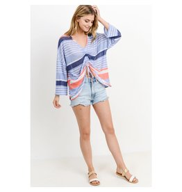 Paper Crane Multi Striped Boxy Front Top