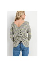 Paper Crane Brushed Striped Back Drawstring L/S Top
