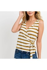 Paper Crane Baja Striped Knit Top With Side Tied Detailed