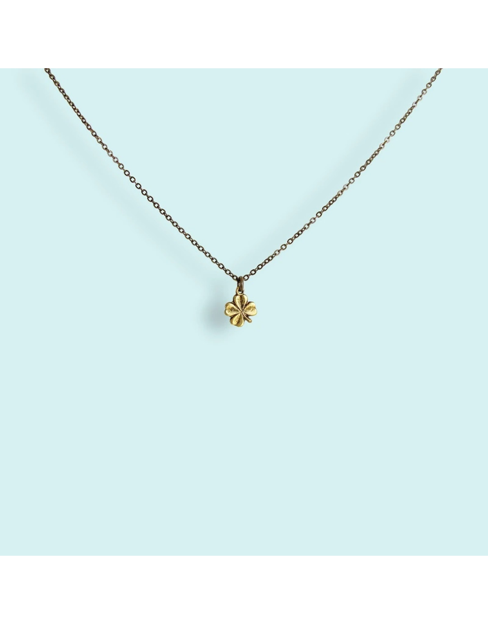 Ornamental Things Tiny Gold Clover Necklace