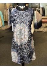 Papillon Mandala Print Lace Shift Dress