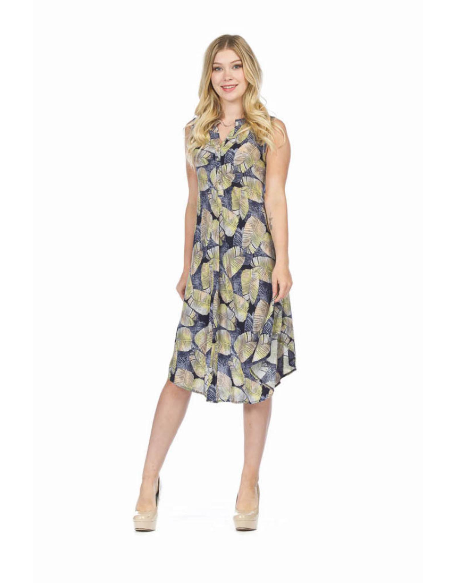 Papillon Leaf Print Henley Dress