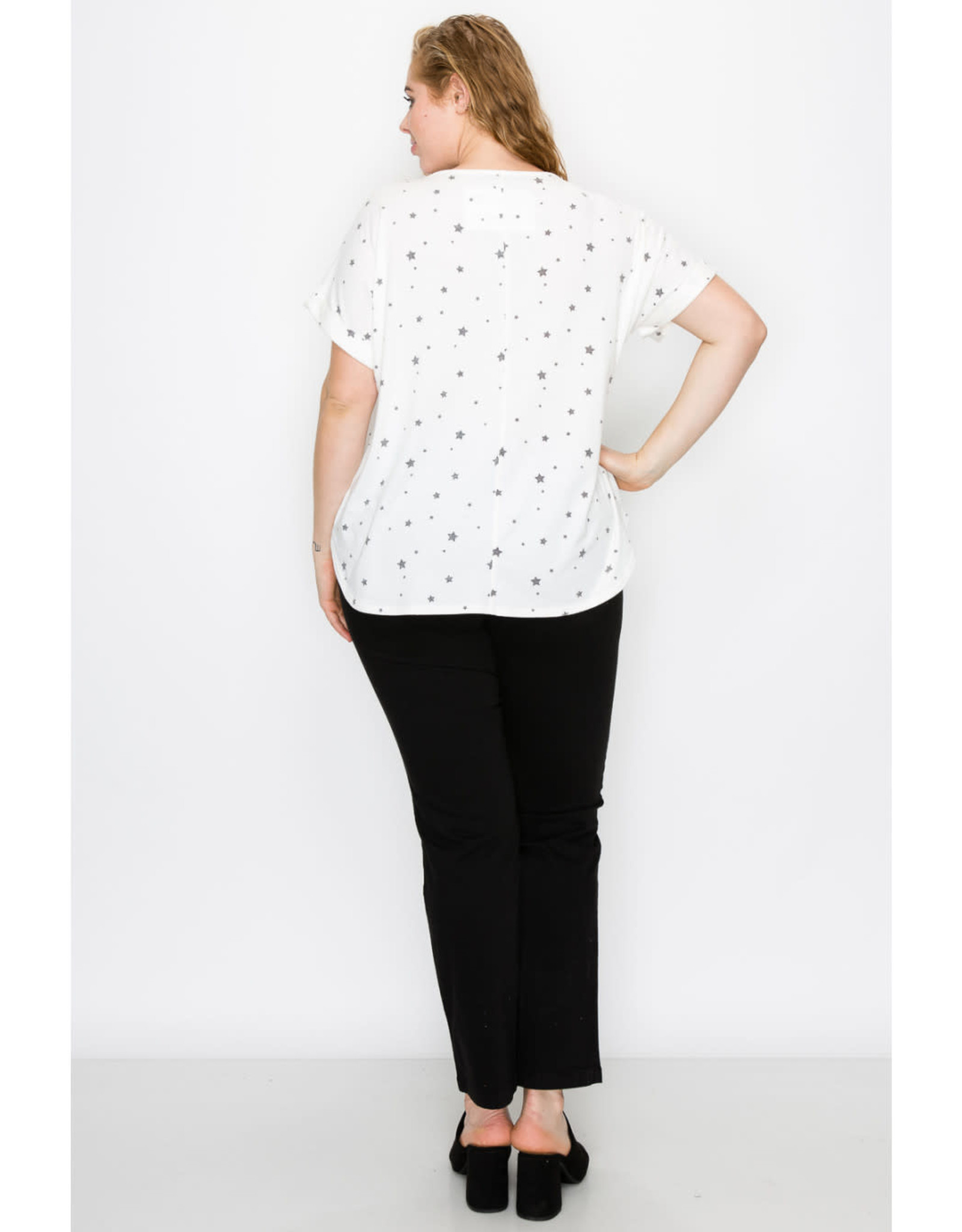 Coin1804 Plus Size Rolled Sleeve V-Neck Top