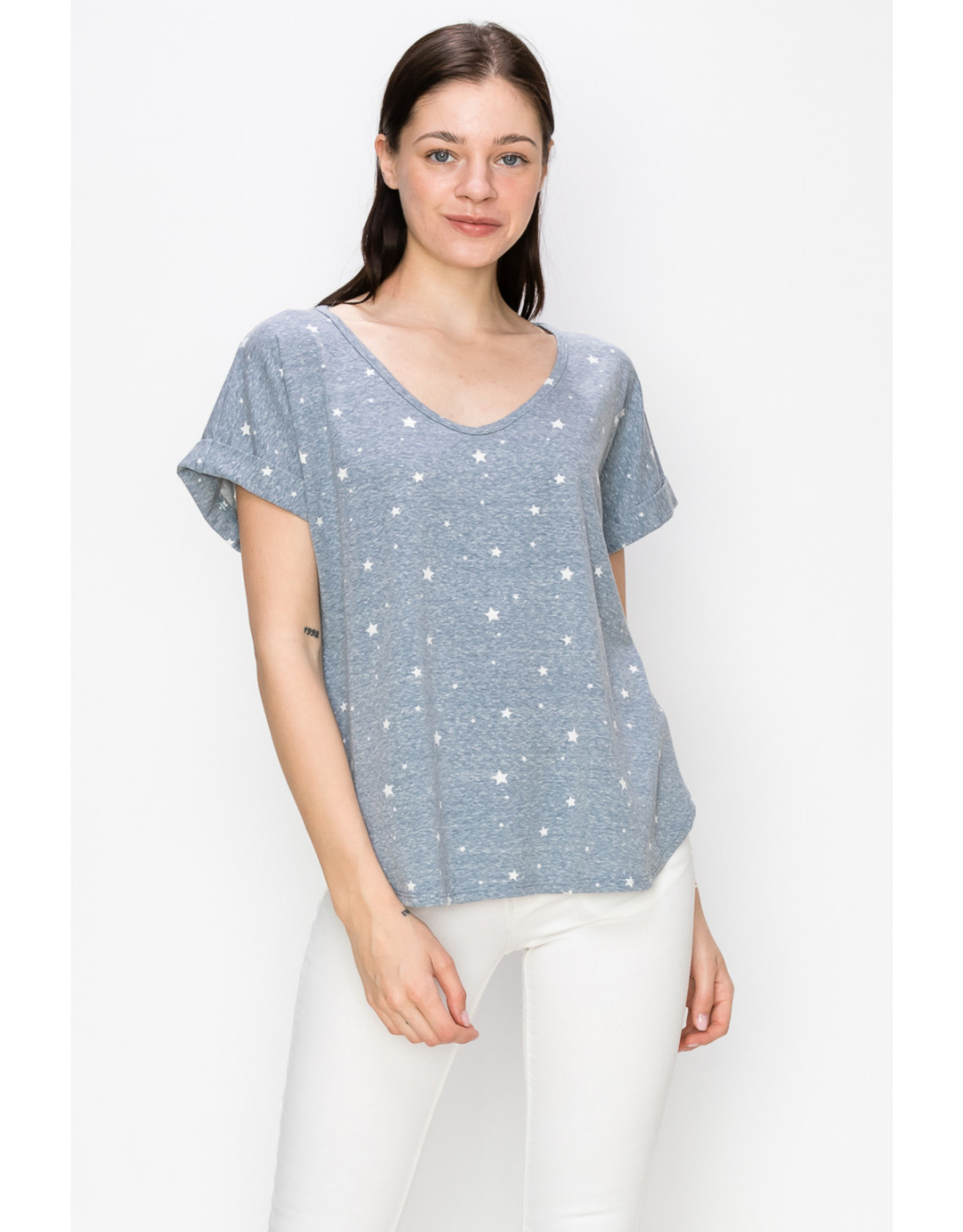 Coin1804 Rolled Sleeve V-Neck Top