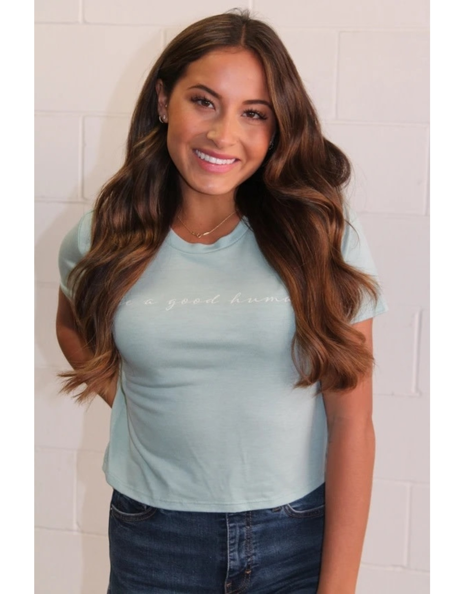 Panache Accessories Be a Good Human Graphic Cropped Tee