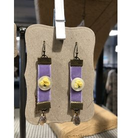 Notion Handcrafted Embroidered Button Ribbon Earrings