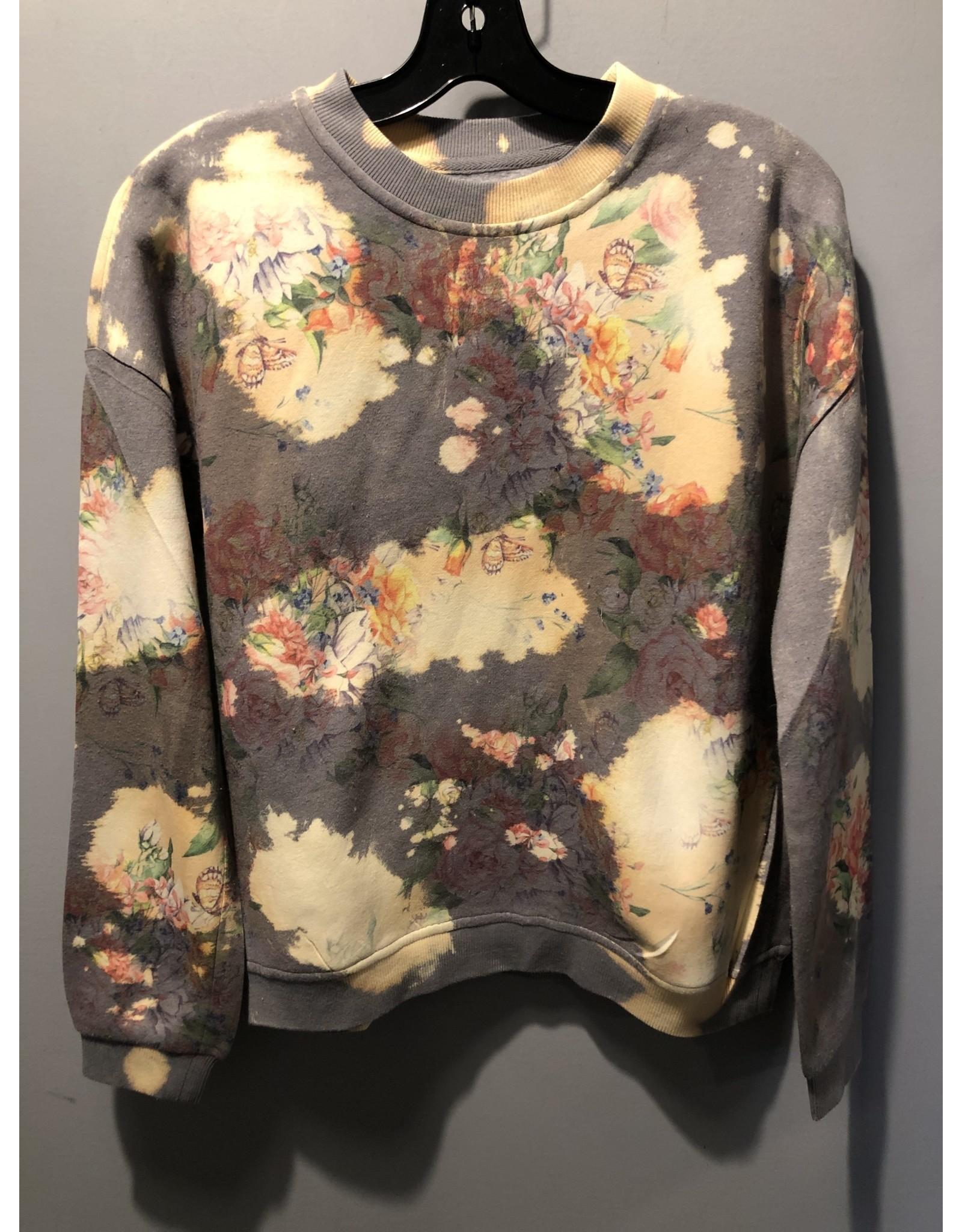 The Nu Vintage Bleach Distressed Floral Sweatshirt