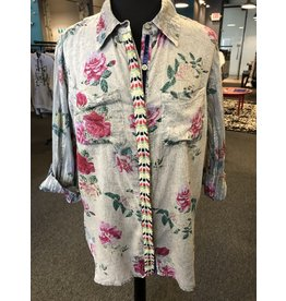The Nu Vintage Embroidered Stripe Button Down Top