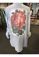 The Nu Vintage Woven Stripe Button Down with Back Rose Patch