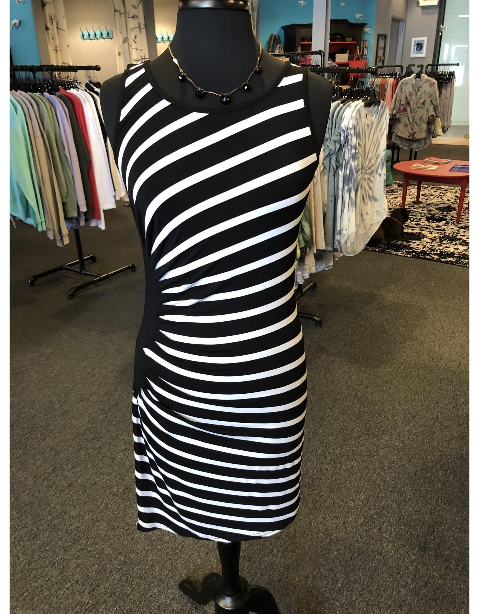 Neesha Side Pleated Striped Dress