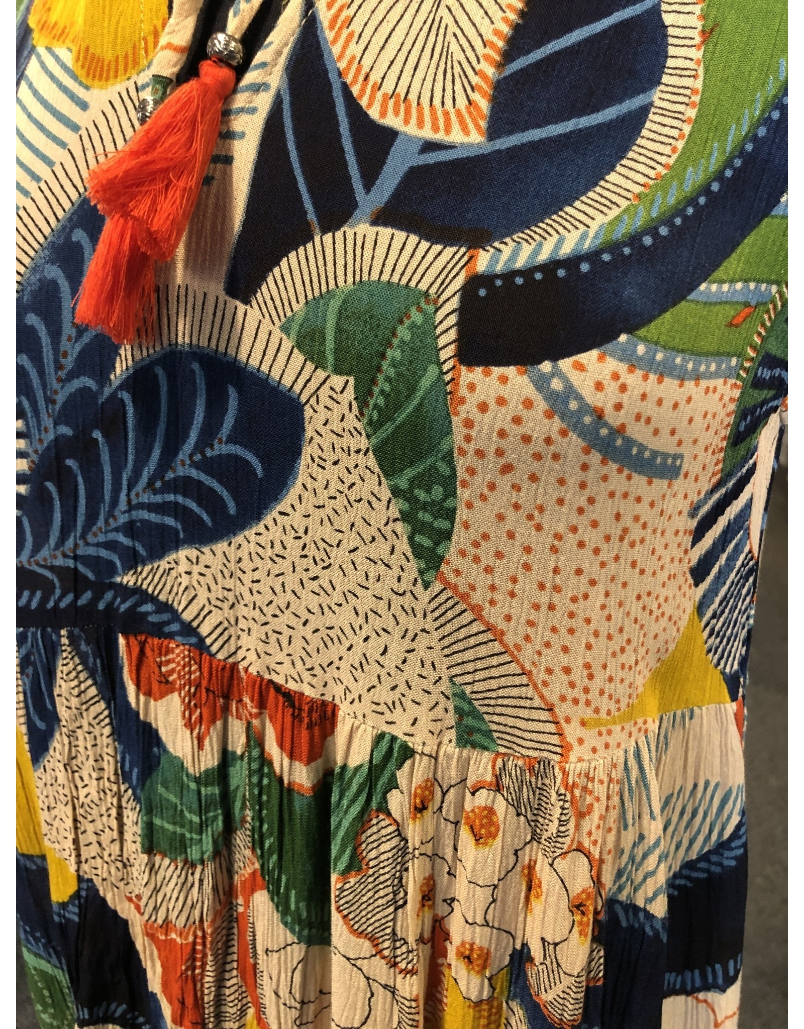 Orientique Midi Dress Paneled Mandrine Collar