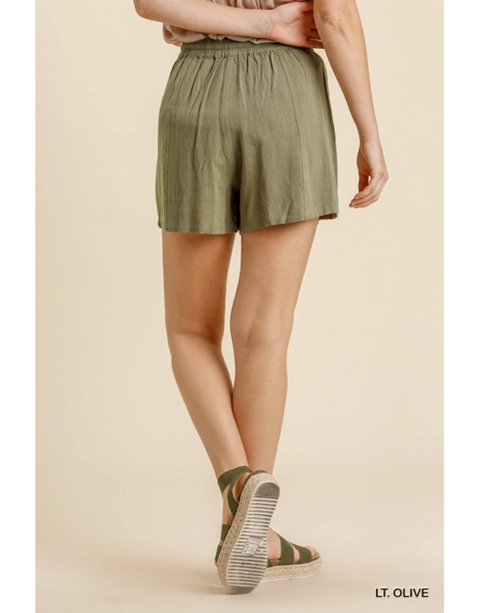 Umgee Linen Blend Drawstring Shorts