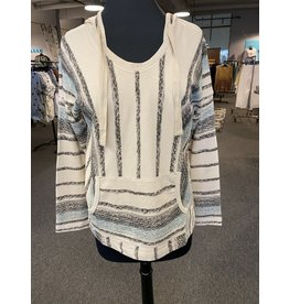 Wild Palms Mixed Distressed Striped Hoodie