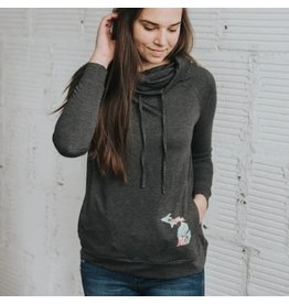 Simply Stated Floral MI Cowl Neck Sweatshirt