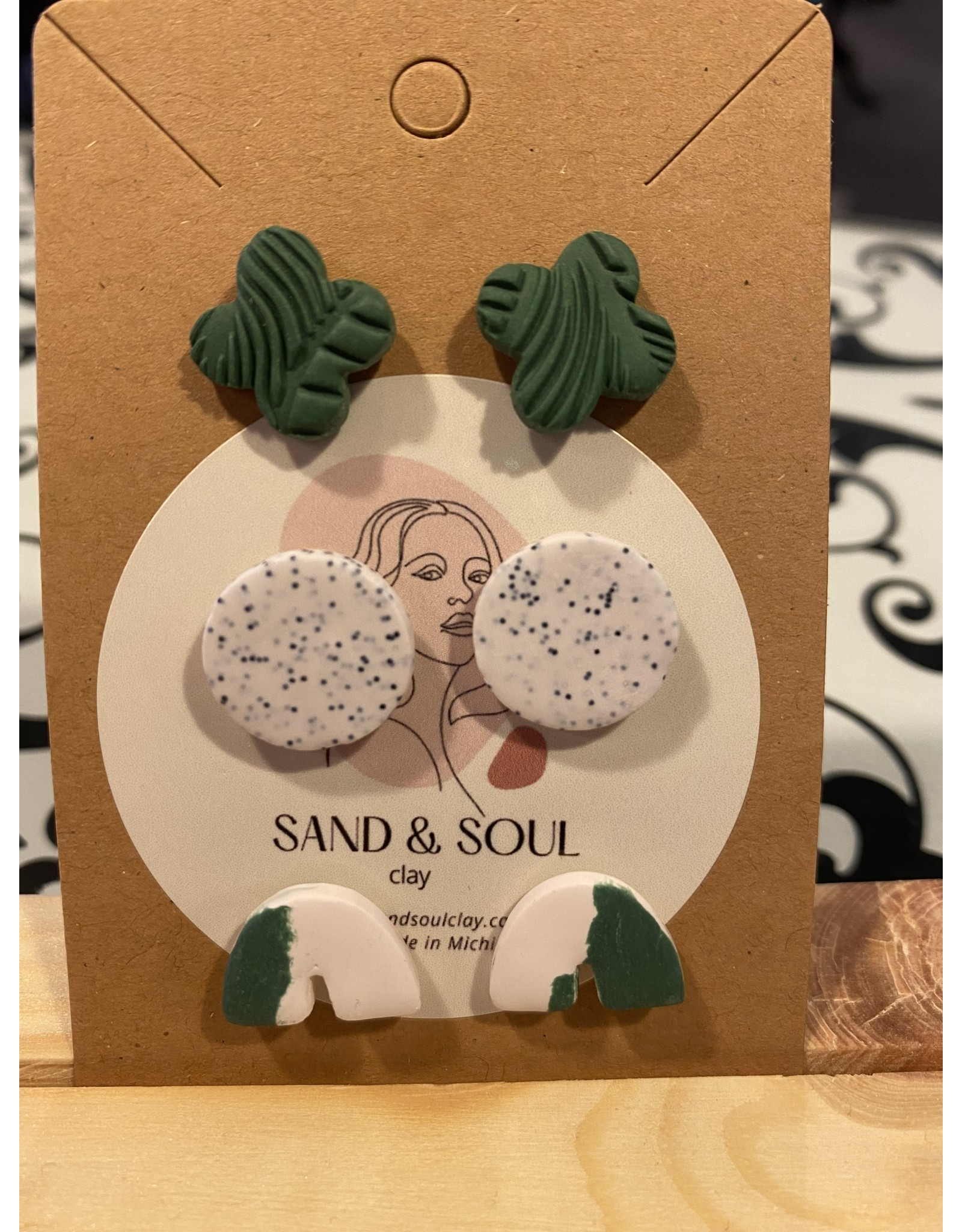 Sand & Soul Smooth & Textured Clay Stud Earrings