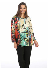 Jess & Jane Brushed Assymetrical Tunic w/Button Accents