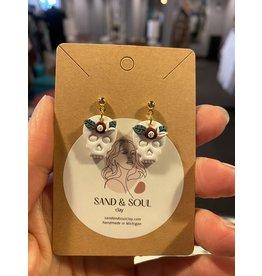 Sand & Soul Skull Dangle Clay Earrings