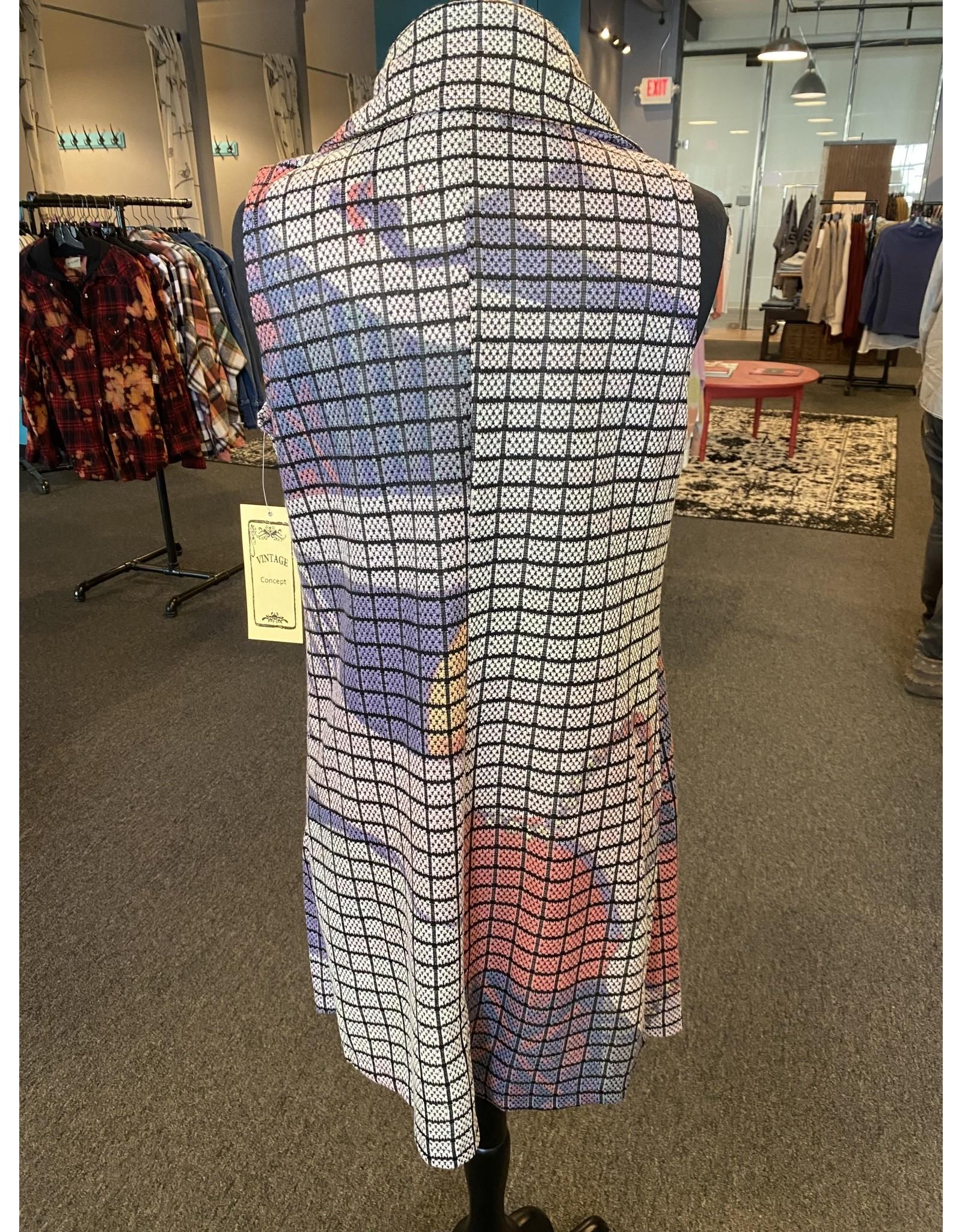 Vintage Concept Patterned Collared Vest