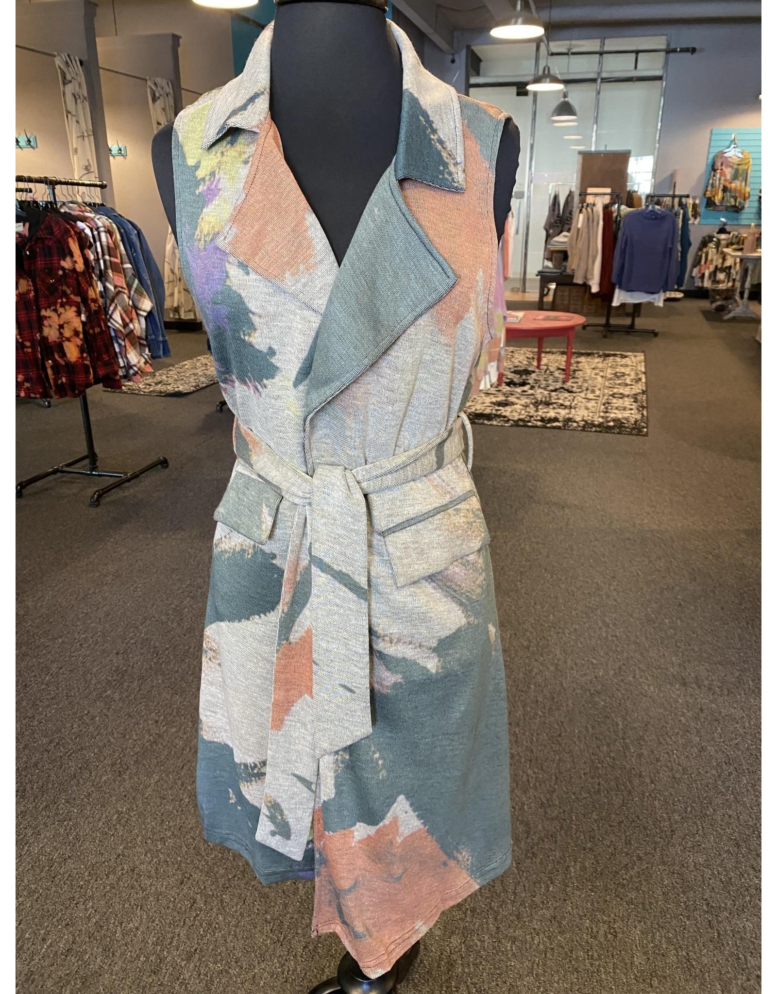 Vintage Concept Collared Tie  Waist Vest