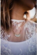 Sojourn Well Cresent Boho Garnet Necklace