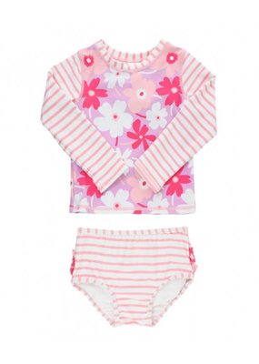 RuffleButts Happy Petals Long Sleeve Bikini