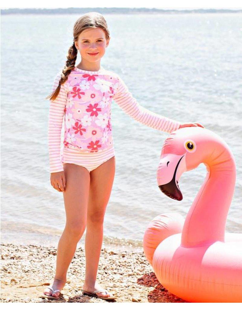 RuffleButts Happy Petals Long Sleeve Bikini