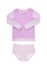 RuffleButts Lilac Striped Polka Long Sleeve Bikini